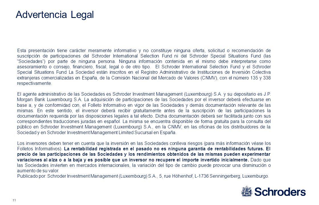 11 Advertencia Legal Esta presentación tiene carácter meramente informativo y no constituye ninguna oferta, solicitud o recomendación de suscripción d