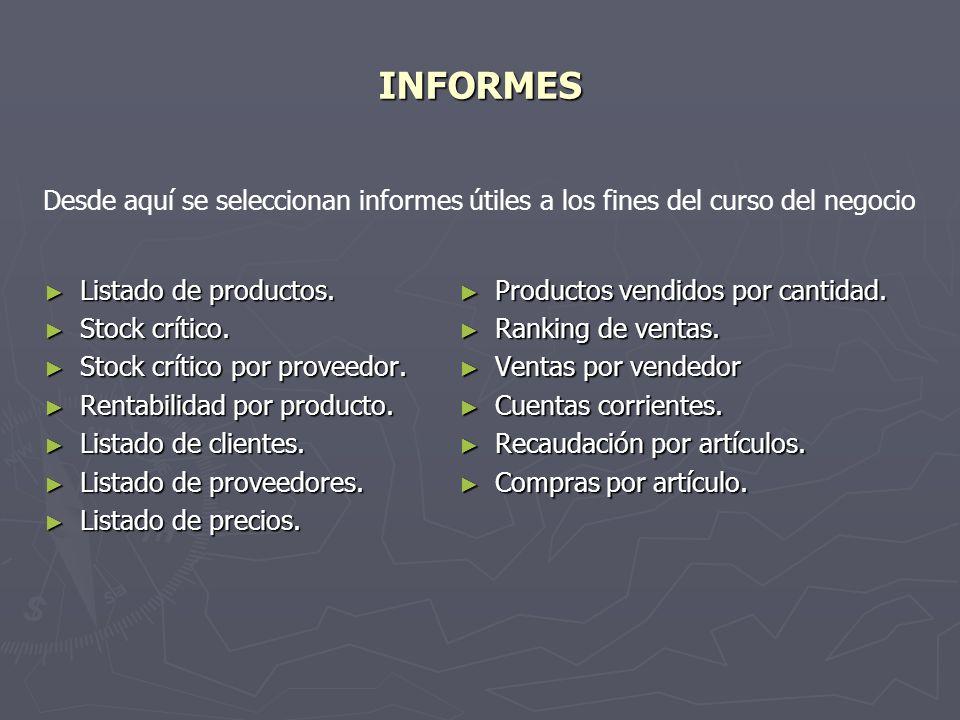 INFORMES Listado de productos.Listado de productos.