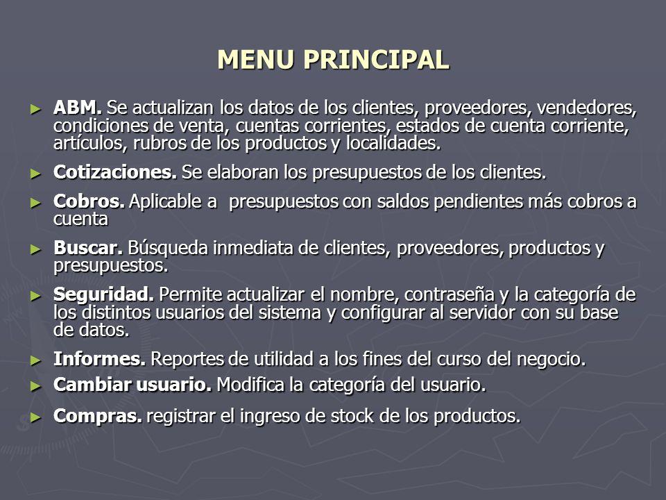 SEGURIDAD Formulario que permite actualizar el nombre de Usuario, Contraseña y Categoría de los distintos usuarios del sistema.