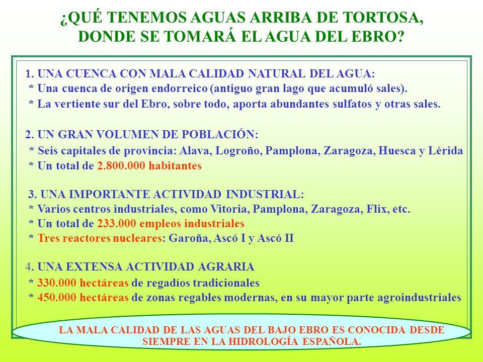 12 ¿QUÉ TENEMOS AGUAS ARRIBA DE TORTOSA, DONDE SE TOMARÁ EL AGUA DEL EBRO? 1. UNA CUENCA CON MALA CALIDAD NATURAL DEL AGUA: * Una cuenca de origen end