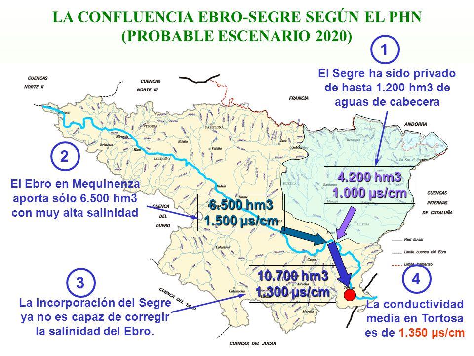 15 LA CONFLUENCIA EBRO-SEGRE SEGÚN EL PHN (PROBABLE ESCENARIO 2020) La incorporación del Segre ya no es capaz de corregir la salinidad del Ebro. El Se
