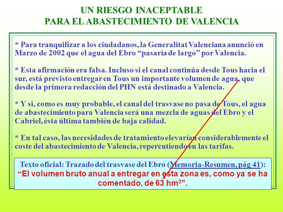 UN RIESGO INACEPTABLE PARA EL ABASTECIMIENTO DE VALENCIA Texto oficial: Trazado del trasvase del Ebro (Memoria-Resumen, pág 41): El volumen bruto anua