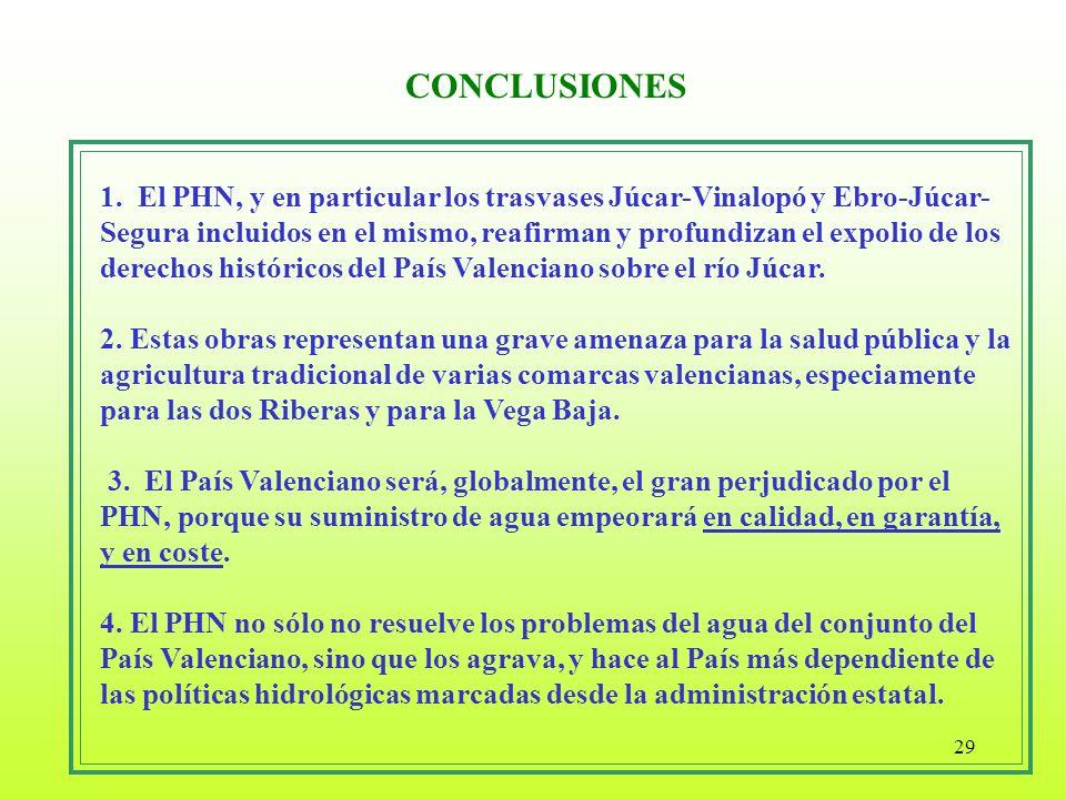 29 1. El PHN, y en particular los trasvases Júcar-Vinalopó y Ebro-Júcar- Segura incluidos en el mismo, reafirman y profundizan el expolio de los derec