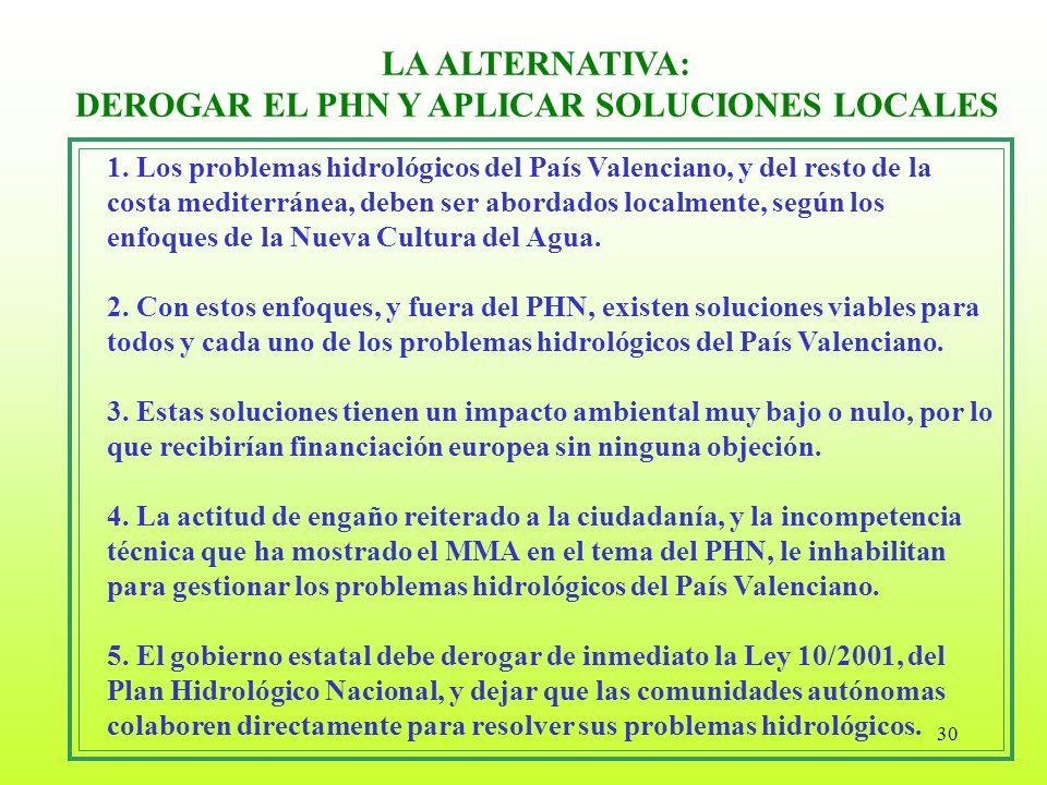 30 1. Los problemas hidrológicos del País Valenciano, y del resto de la costa mediterránea, deben ser abordados localmente, según los enfoques de la N