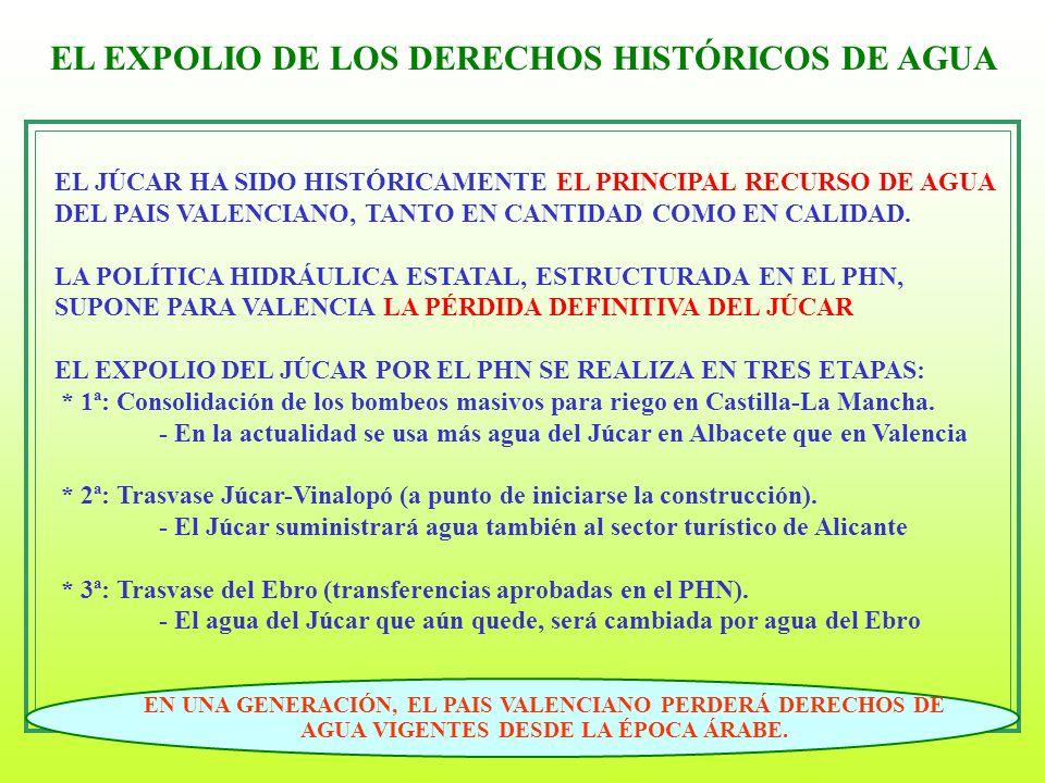4 EL EXPOLIO DE LOS DERECHOS HISTÓRICOS DE AGUA EL JÚCAR HA SIDO HISTÓRICAMENTE EL PRINCIPAL RECURSO DE AGUA DEL PAIS VALENCIANO, TANTO EN CANTIDAD CO
