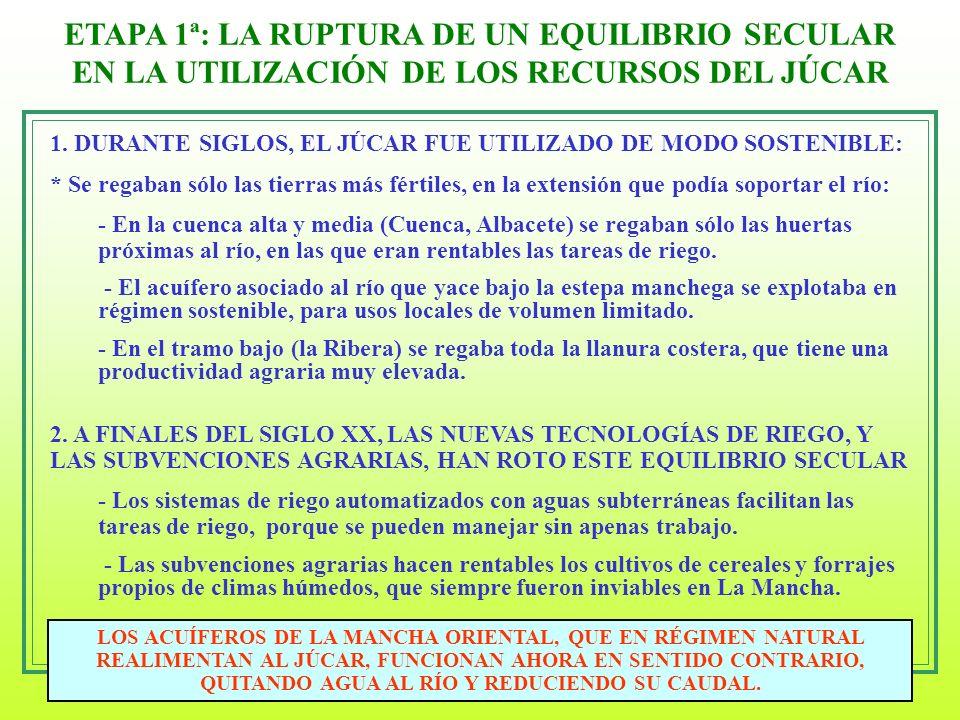 5 ETAPA 1ª: LA RUPTURA DE UN EQUILIBRIO SECULAR EN LA UTILIZACIÓN DE LOS RECURSOS DEL JÚCAR LOS ACUÍFEROS DE LA MANCHA ORIENTAL, QUE EN RÉGIMEN NATURA