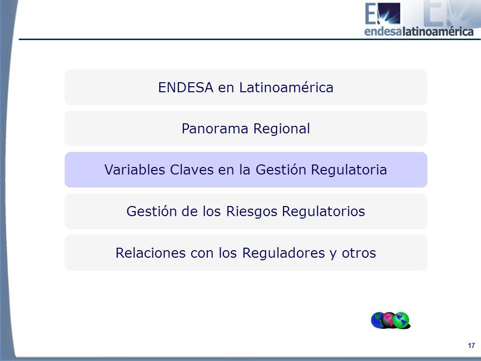 17 Variables Claves en la Gestión Regulatoria Relaciones con los Reguladores y otros Gestión de los Riesgos Regulatorios Panorama Regional ENDESA en Latinoamérica