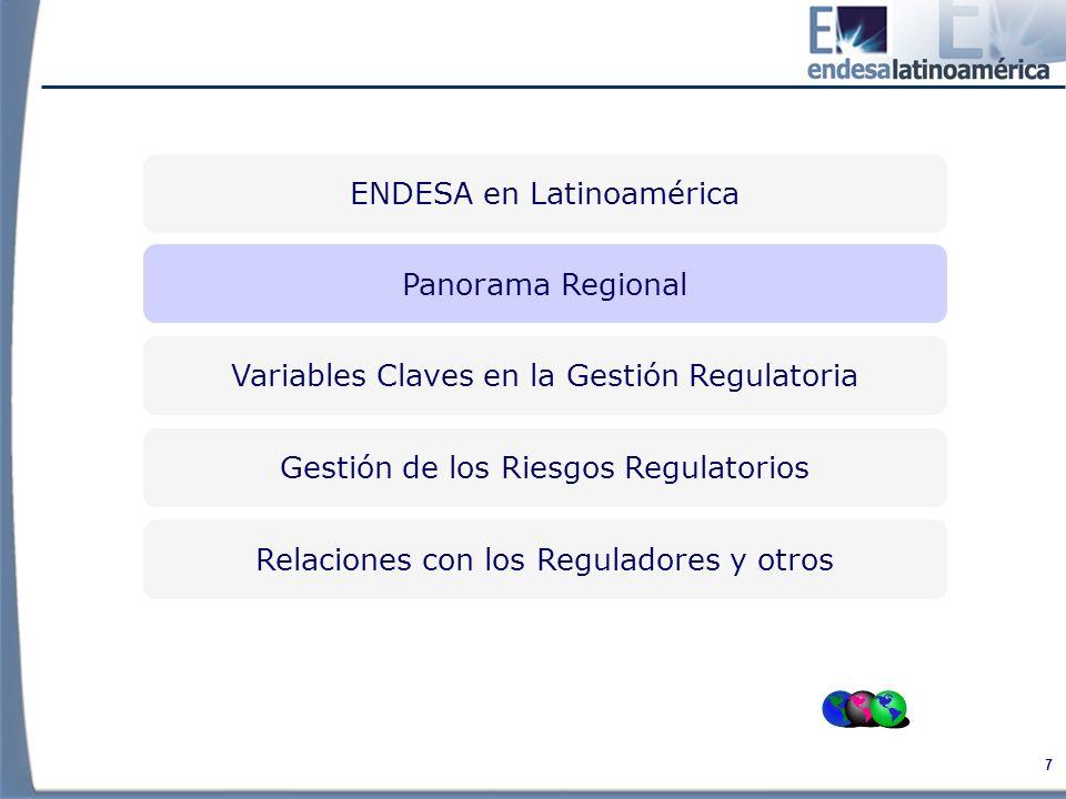 38 Variables Claves en la Gestión Regulatoria Relaciones con los Reguladores y otros Gestión del Riesgo Regulatorio Panorama Regional ENDESA en Latinoamérica