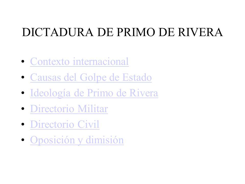 DICTADURA DE PRIMO DE RIVERA Contexto internacional Causas del Golpe de Estado Ideología de Primo de Rivera Directorio Militar Directorio Civil Oposición y dimisión