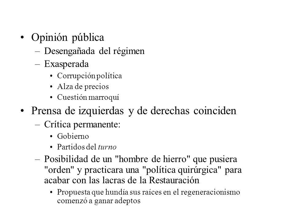 Opinión pública –Desengañada del régimen –Exasperada Corrupción política Alza de precios Cuestión marroquí Prensa de izquierdas y de derechas coincide