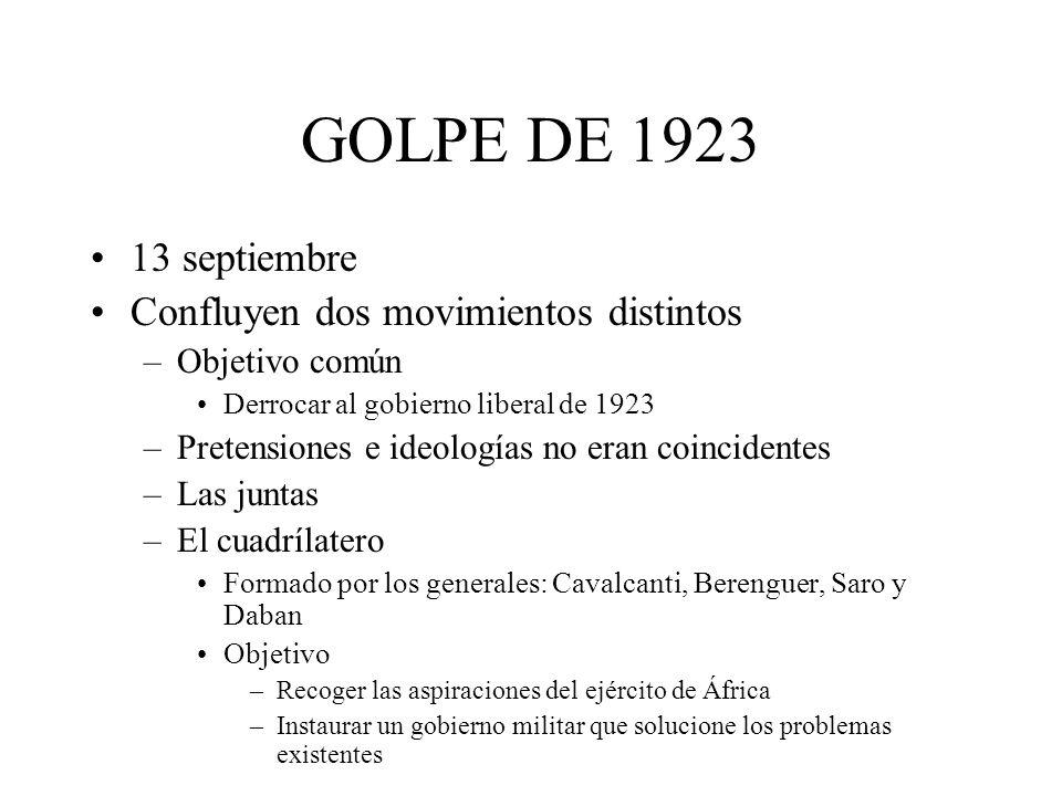GOLPE DE 1923 13 septiembre Confluyen dos movimientos distintos –Objetivo común Derrocar al gobierno liberal de 1923 –Pretensiones e ideologías no era