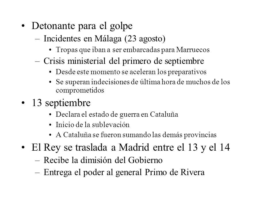 Detonante para el golpe –Incidentes en Málaga (23 agosto) Tropas que iban a ser embarcadas para Marruecos –Crisis ministerial del primero de septiembr