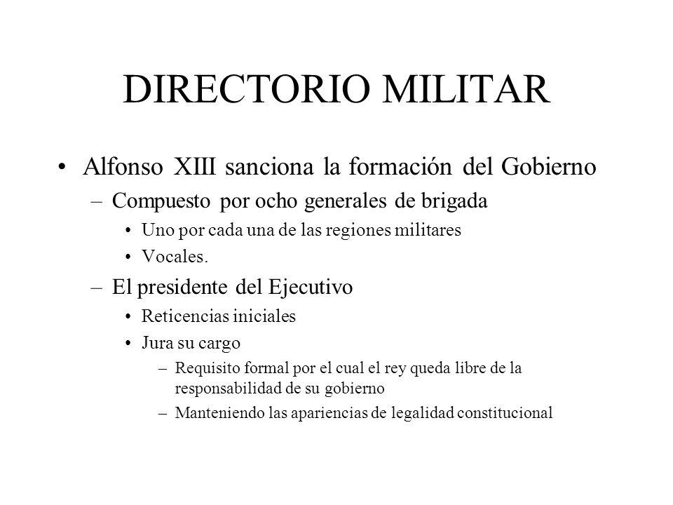 DIRECTORIO MILITAR Alfonso XIII sanciona la formación del Gobierno –Compuesto por ocho generales de brigada Uno por cada una de las regiones militares