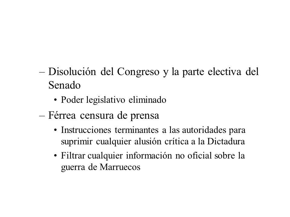 –Disolución del Congreso y la parte electiva del Senado Poder legislativo eliminado –Férrea censura de prensa Instrucciones terminantes a las autoridades para suprimir cualquier alusión crítica a la Dictadura Filtrar cualquier información no oficial sobre la guerra de Marruecos