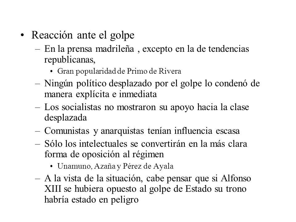 Reacción ante el golpe –En la prensa madrileña, excepto en la de tendencias republicanas, Gran popularidad de Primo de Rivera –Ningún político desplaz