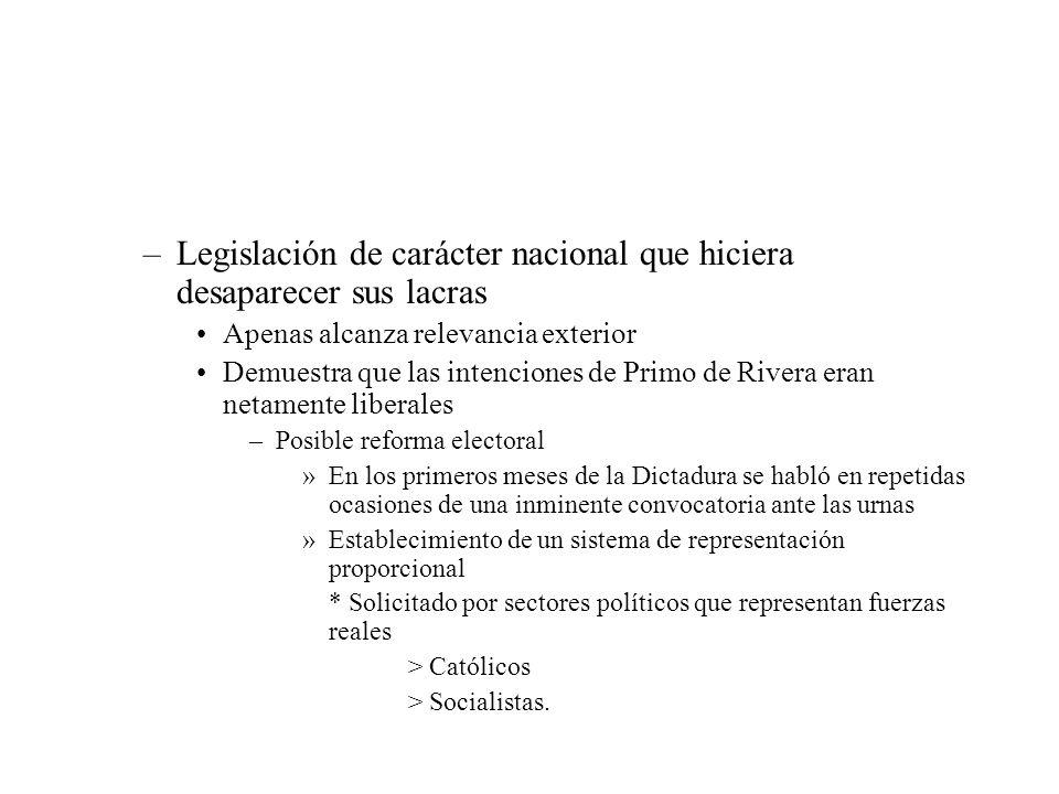 –Legislación de carácter nacional que hiciera desaparecer sus lacras Apenas alcanza relevancia exterior Demuestra que las intenciones de Primo de Rive
