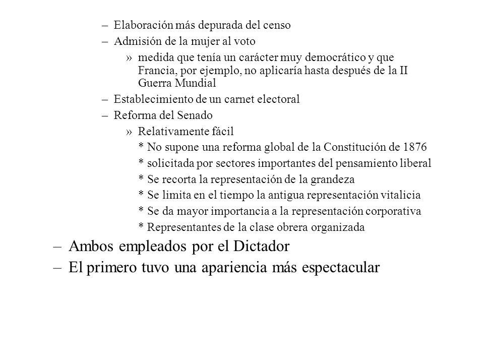 –Elaboración más depurada del censo –Admisión de la mujer al voto »medida que tenía un carácter muy democrático y que Francia, por ejemplo, no aplicar