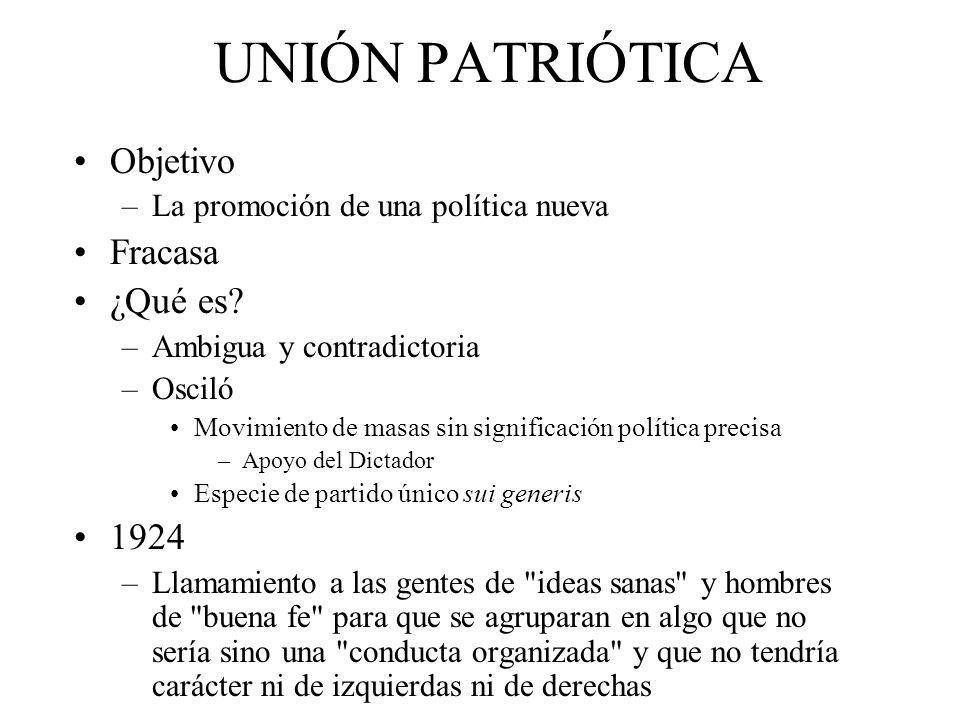 UNIÓN PATRIÓTICA Objetivo –La promoción de una política nueva Fracasa ¿Qué es.