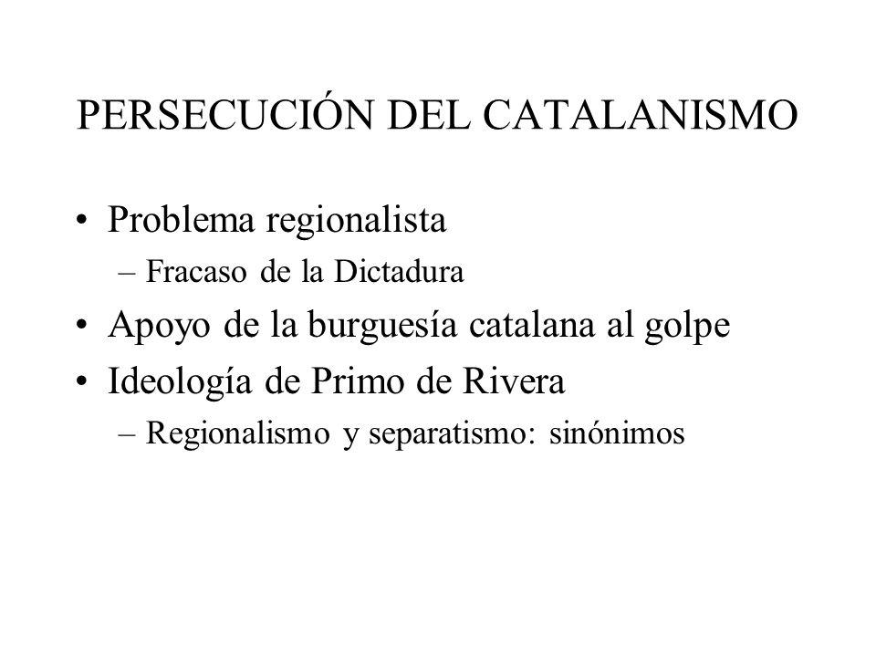 PERSECUCIÓN DEL CATALANISMO Problema regionalista –Fracaso de la Dictadura Apoyo de la burguesía catalana al golpe Ideología de Primo de Rivera –Regio