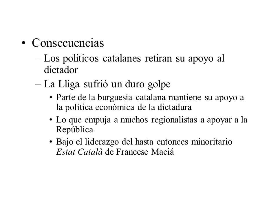 Consecuencias –Los políticos catalanes retiran su apoyo al dictador –La Lliga sufrió un duro golpe Parte de la burguesía catalana mantiene su apoyo a la política económica de la dictadura Lo que empuja a muchos regionalistas a apoyar a la República Bajo el liderazgo del hasta entonces minoritario Estat Català de Francesc Maciá