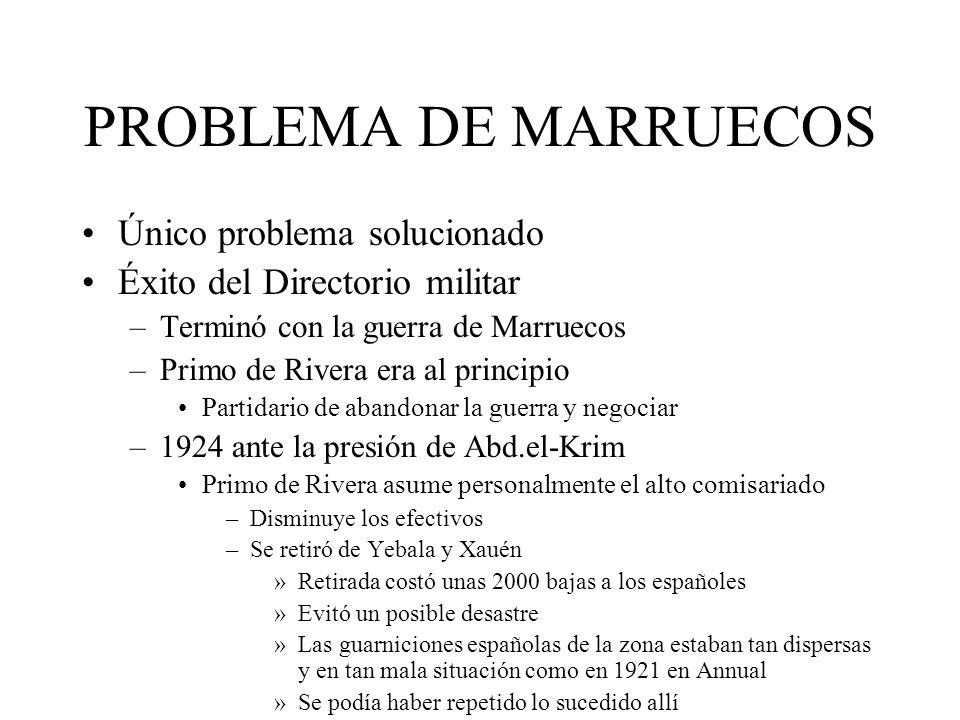 PROBLEMA DE MARRUECOS Único problema solucionado Éxito del Directorio militar –Terminó con la guerra de Marruecos –Primo de Rivera era al principio Pa
