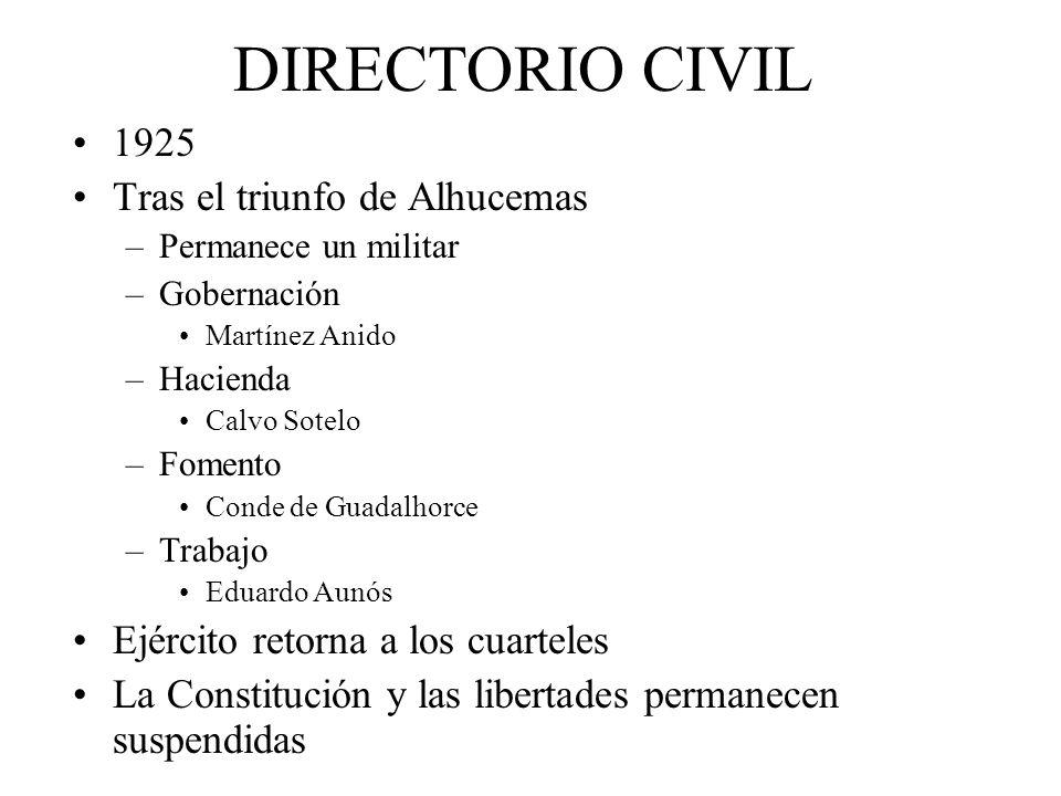 DIRECTORIO CIVIL 1925 Tras el triunfo de Alhucemas –Permanece un militar –Gobernación Martínez Anido –Hacienda Calvo Sotelo –Fomento Conde de Guadalho