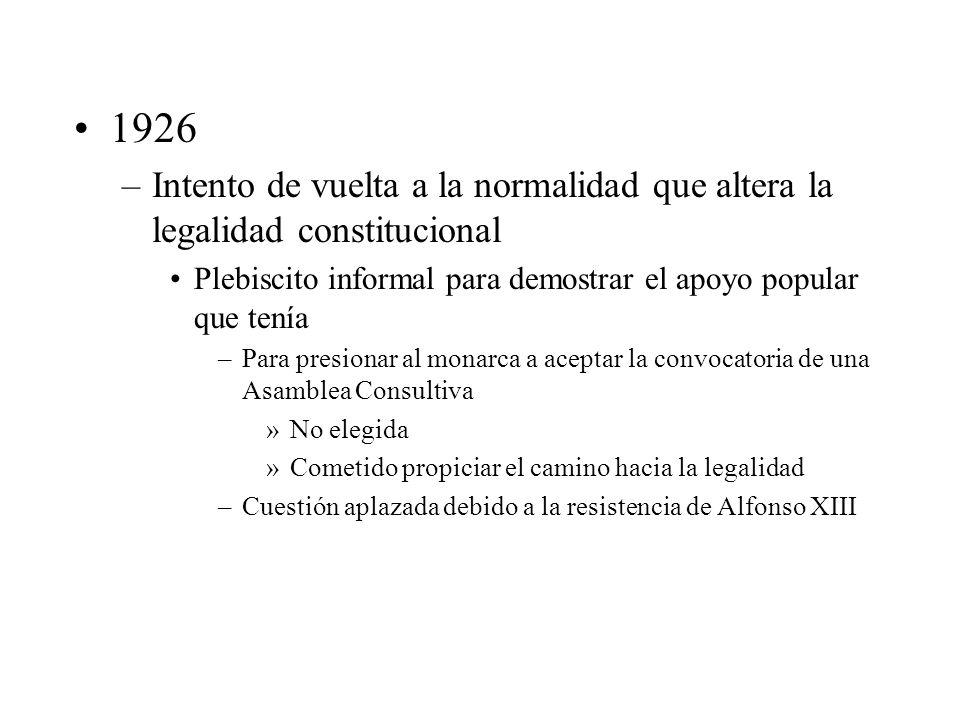 1926 –Intento de vuelta a la normalidad que altera la legalidad constitucional Plebiscito informal para demostrar el apoyo popular que tenía –Para pre