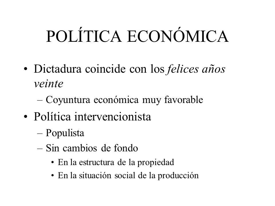POLÍTICA ECONÓMICA Dictadura coincide con los felices años veinte –Coyuntura económica muy favorable Política intervencionista –Populista –Sin cambios de fondo En la estructura de la propiedad En la situación social de la producción