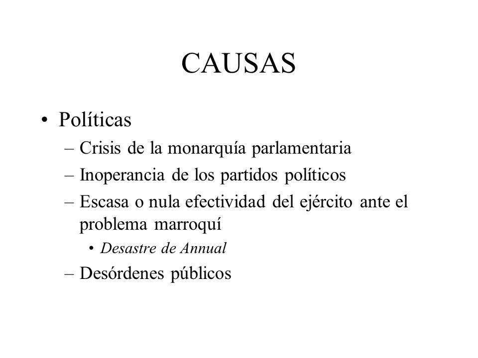 CAUSAS Políticas –Crisis de la monarquía parlamentaria –Inoperancia de los partidos políticos –Escasa o nula efectividad del ejército ante el problema marroquí Desastre de Annual –Desórdenes públicos
