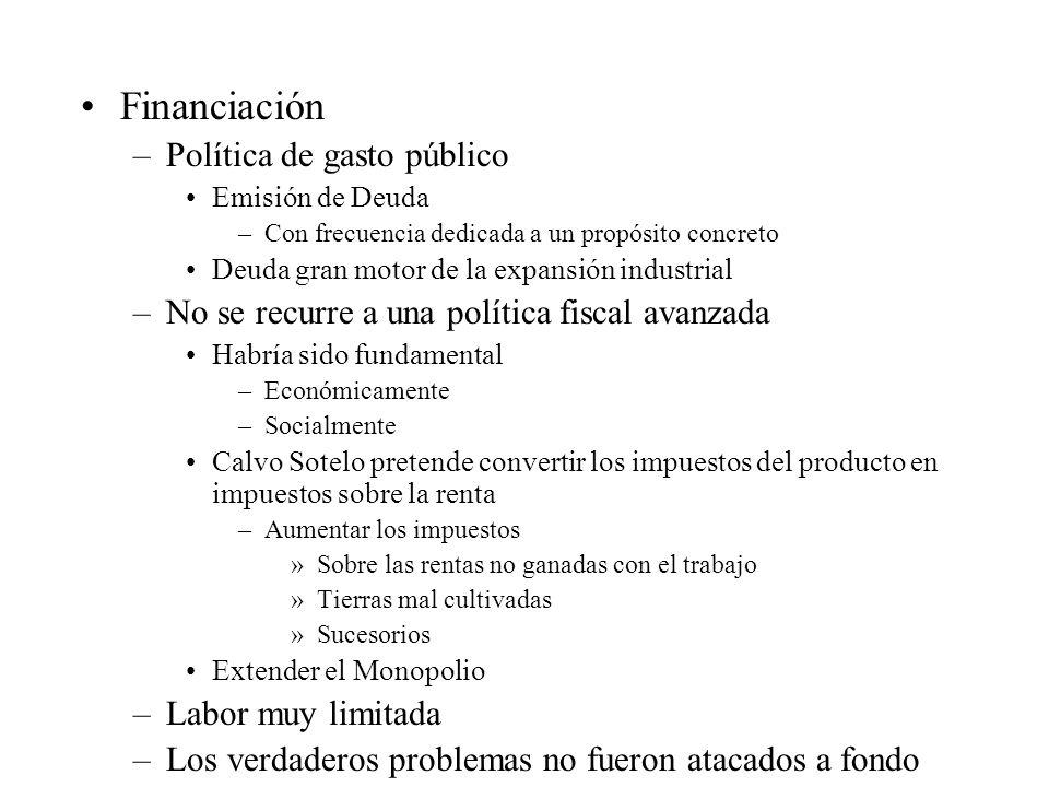 Financiación –Política de gasto público Emisión de Deuda –Con frecuencia dedicada a un propósito concreto Deuda gran motor de la expansión industrial