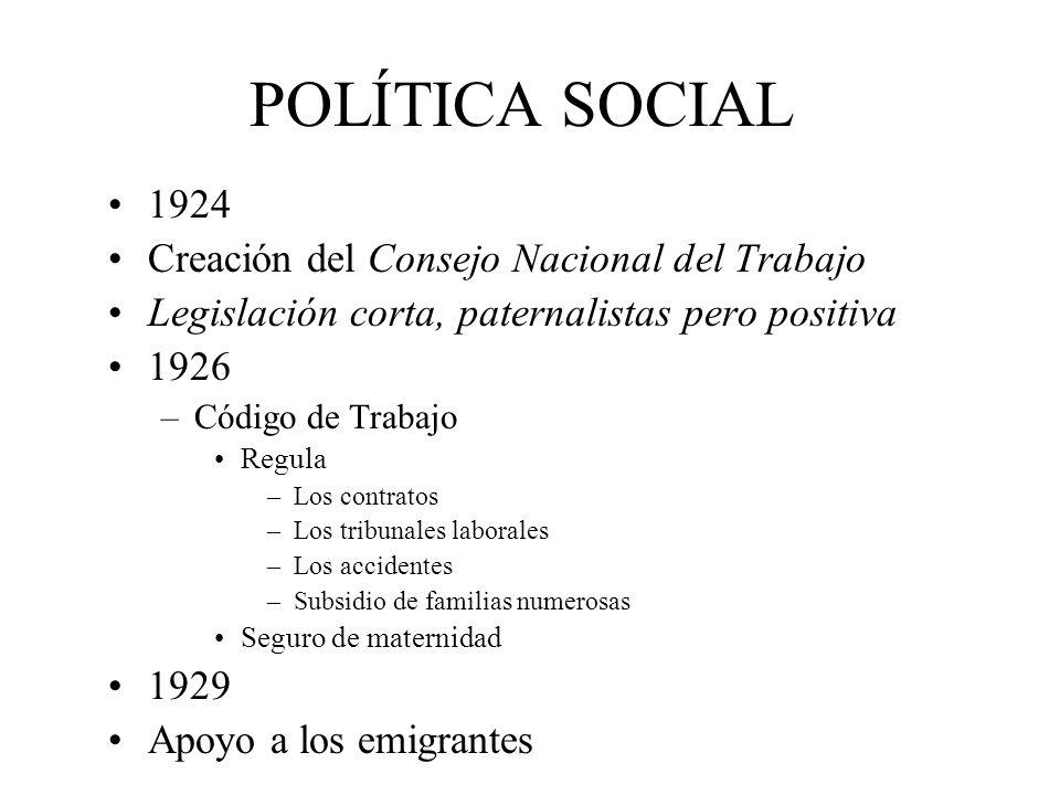 POLÍTICA SOCIAL 1924 Creación del Consejo Nacional del Trabajo Legislación corta, paternalistas pero positiva 1926 –Código de Trabajo Regula –Los cont