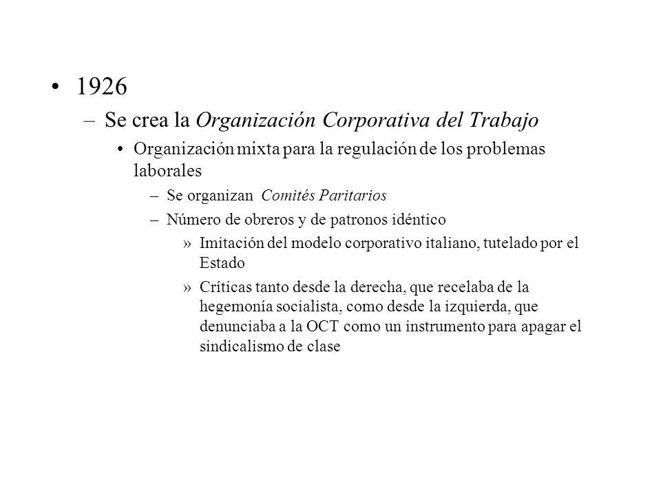 1926 –Se crea la Organización Corporativa del Trabajo Organización mixta para la regulación de los problemas laborales –Se organizan Comités Paritario