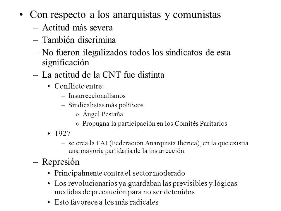 Con respecto a los anarquistas y comunistas –Actitud más severa –También discrimina –No fueron ilegalizados todos los sindicatos de esta significación