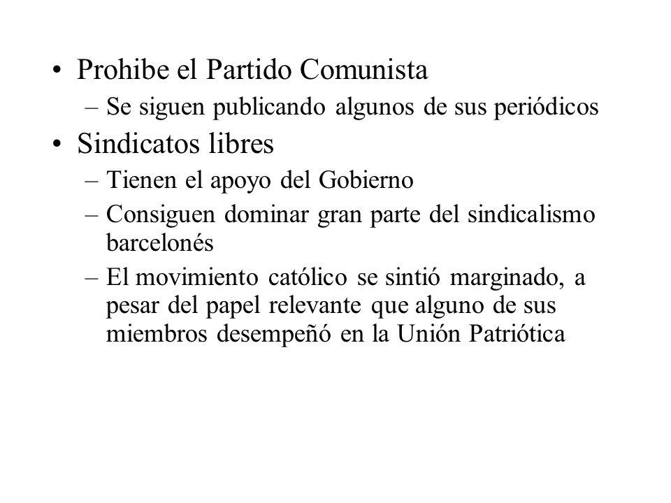 Prohibe el Partido Comunista –Se siguen publicando algunos de sus periódicos Sindicatos libres –Tienen el apoyo del Gobierno –Consiguen dominar gran parte del sindicalismo barcelonés –El movimiento católico se sintió marginado, a pesar del papel relevante que alguno de sus miembros desempeñó en la Unión Patriótica