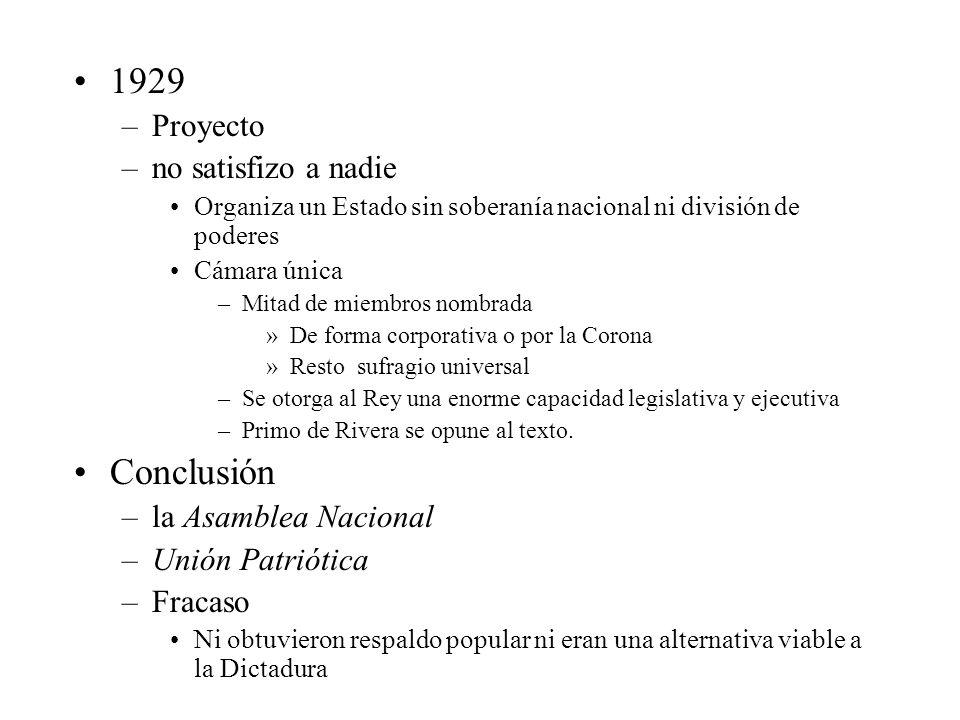1929 –Proyecto –no satisfizo a nadie Organiza un Estado sin soberanía nacional ni división de poderes Cámara única –Mitad de miembros nombrada »De for