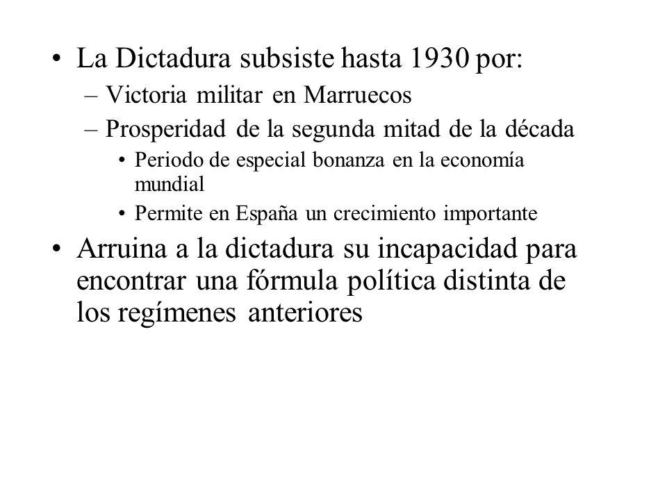 La Dictadura subsiste hasta 1930 por: –Victoria militar en Marruecos –Prosperidad de la segunda mitad de la década Periodo de especial bonanza en la economía mundial Permite en España un crecimiento importante Arruina a la dictadura su incapacidad para encontrar una fórmula política distinta de los regímenes anteriores