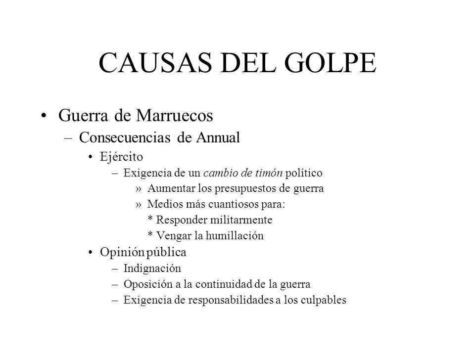 CAUSAS DEL GOLPE Guerra de Marruecos –Consecuencias de Annual Ejército –Exigencia de un cambio de timón político »Aumentar los presupuestos de guerra