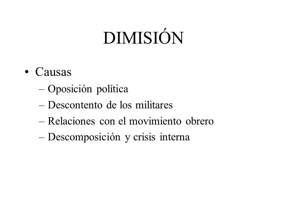 DIMISIÓN Causas –Oposición política –Descontento de los militares –Relaciones con el movimiento obrero –Descomposición y crisis interna