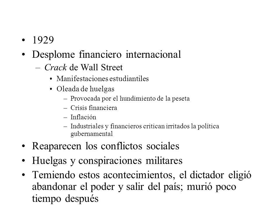 1929 Desplome financiero internacional –Crack de Wall Street Manifestaciones estudiantiles Oleada de huelgas –Provocada por el hundimiento de la peset
