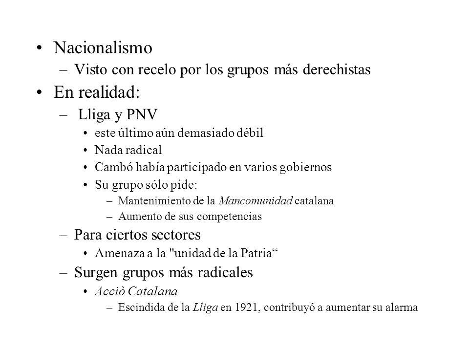 Nacionalismo –Visto con recelo por los grupos más derechistas En realidad: – Lliga y PNV este último aún demasiado débil Nada radical Cambó había part