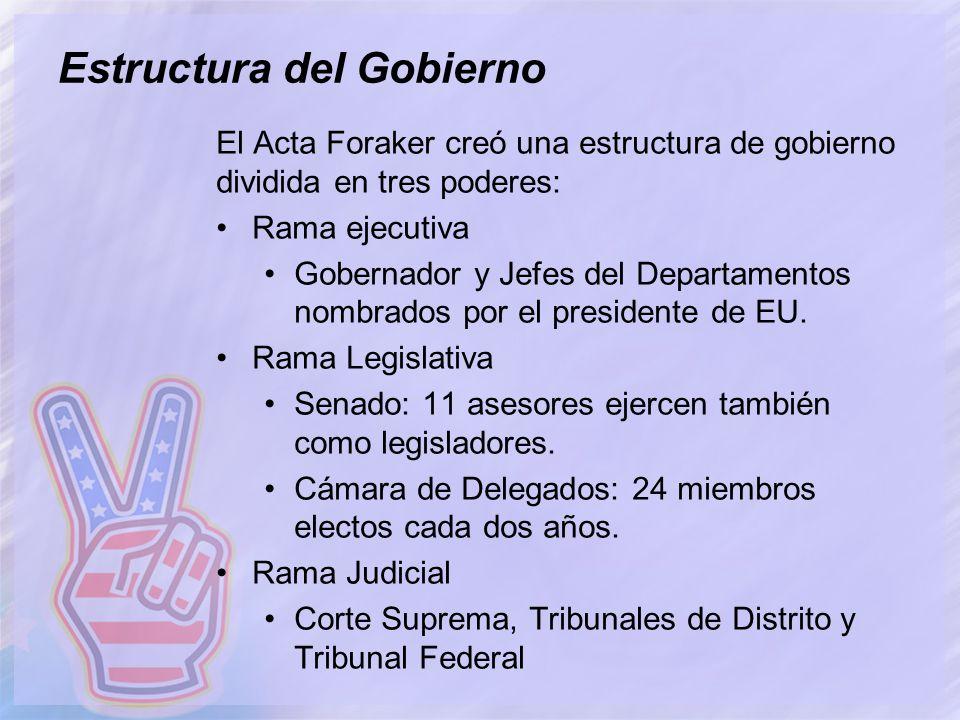 Estructura del Gobierno El Acta Foraker creó una estructura de gobierno dividida en tres poderes: Rama ejecutiva Gobernador y Jefes del Departamentos