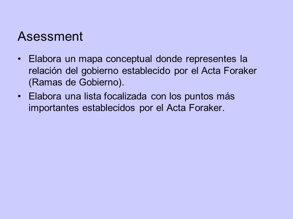 Asessment Elabora un mapa conceptual donde representes la relación del gobierno establecido por el Acta Foraker (Ramas de Gobierno). Elabora una lista
