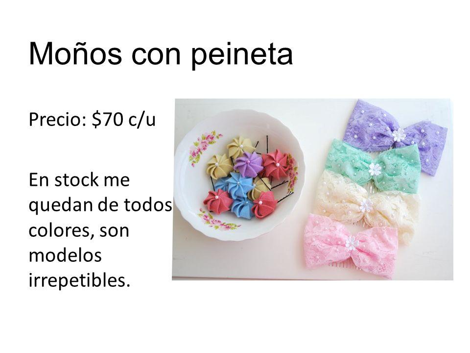 Moños con peineta Precio: $70 c/u En stock me quedan de todos colores, son modelos irrepetibles.