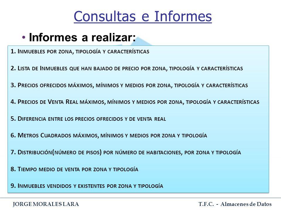 T.F.C. - Almacenes de Datos JORGE MORALES LARA Consultas e Informes Informes a realizar: 1. I NMUEBLES POR ZONA, TIPOLOGÍA Y CARACTERÍSTICAS 2. L ISTA