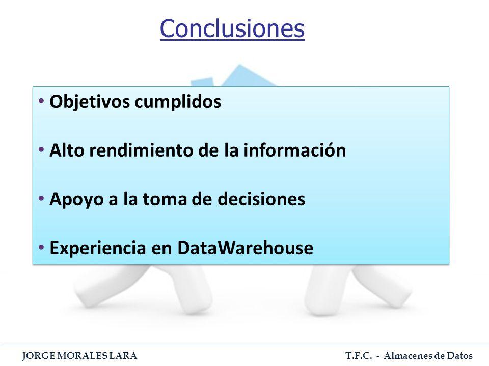T.F.C. - Almacenes de Datos JORGE MORALES LARA Conclusiones Objetivos cumplidos Alto rendimiento de la información Apoyo a la toma de decisiones Exper