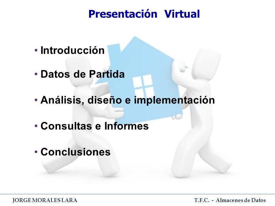 T.F.C. - Almacenes de Datos JORGE MORALES LARA Presentación Virtual Introducción Datos de Partida Análisis, diseño e implementación Consultas e Inform