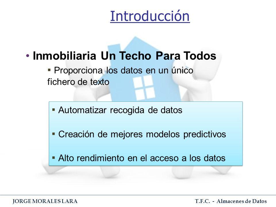 T.F.C. - Almacenes de Datos JORGE MORALES LARA Introducción Inmobiliaria Un Techo Para Todos Proporciona los datos en un único fichero de texto Automa