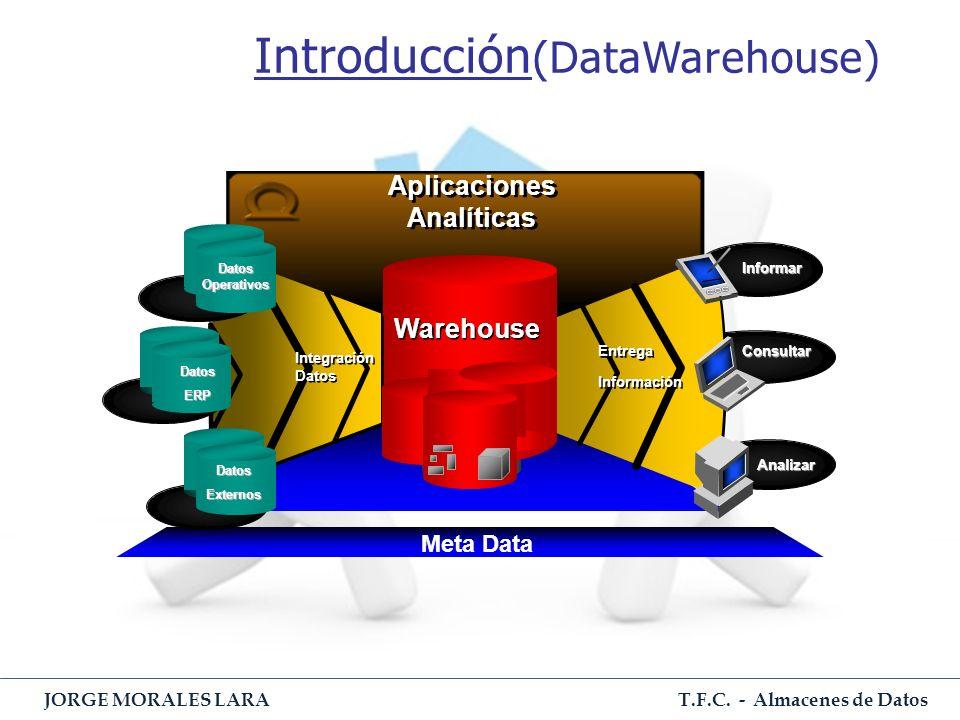 T.F.C. - Almacenes de Datos JORGE MORALES LARA Meta Data Integración Datos Entrega Información Entrega Información Warehouse DatosERP DatosExternos Da