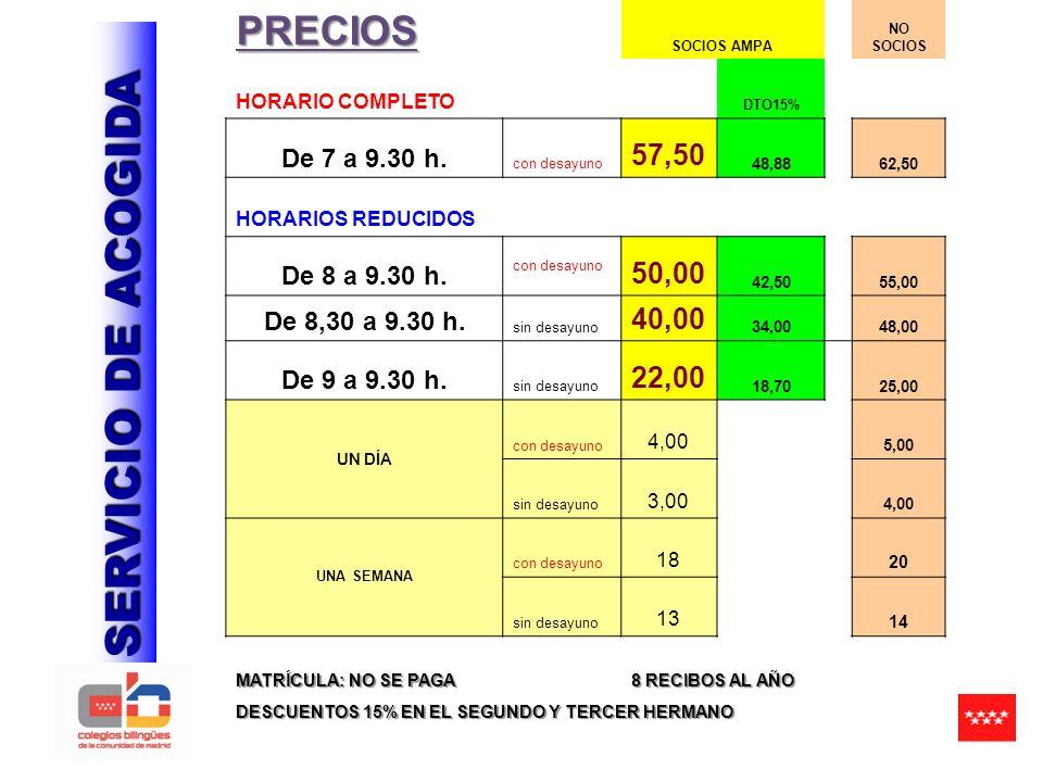 SERVICIO DE ACOGIDA PRECIOS SOCIOS AMPA NO SOCIOS HORARIO COMPLETO DTO15% De 7 a 9.30 h.