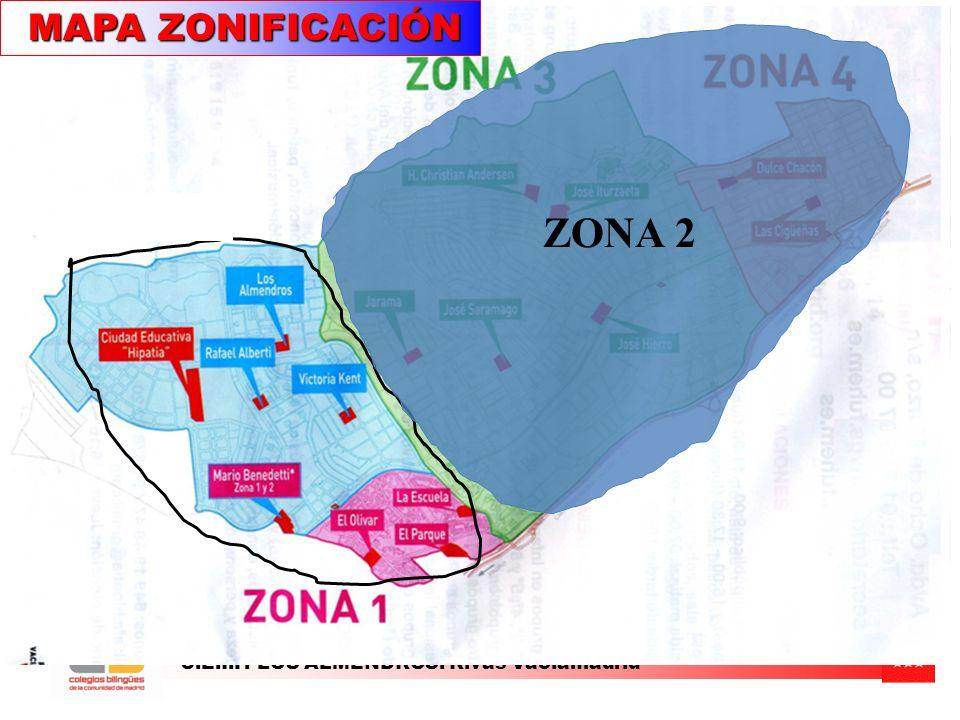 C.E.I.P. LOS ALMENDROS. Rivas Vaciamadrid MAPA ZONIFICACIÓN MAPA ZONIFICACIÓN ZONA 2